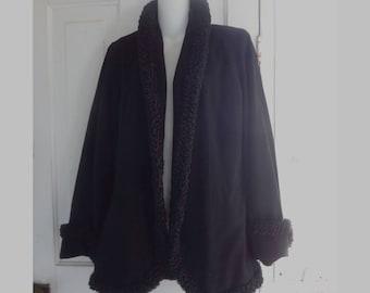 1940s Black Wool Coat with Curly Lamb Trim, needs TLC