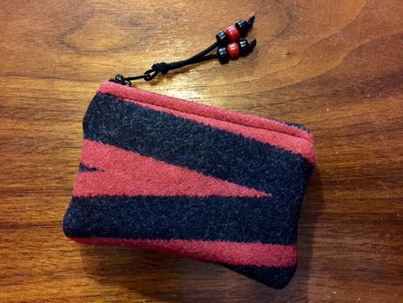 Wool Coin Purse / Phone Cord / Gift Card Holder / Zippered Pouch Red & Black