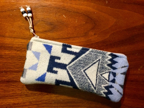 Wool Sunglasses Case / Glasses  Case / Tampon Case / Zippered Pouch Blue & White