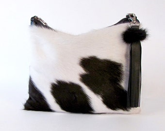 Calf Hair Clutch ~ Black Clutch ~ Black and White Leather Bag ~ Brazilian Cowhide Clutch ~ Black and White Leather Clutch ~ Calfhair Clutch
