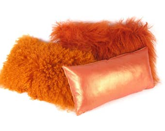 Orange leather Pillow ~ Italian Leather Pillow ~ Small Leather Pillow ~ Orange Accent Pillow ~ Orange Leather Lumbar Pillow ~ Pearlized