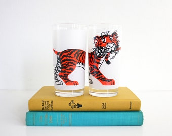 Mid Century Modern Tiger Glasses / Vintage Esso Tiger Glasses / Esso Tiger Drinking Glasses / Esso Gas Station Glasses