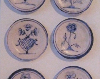 Dollhouse Plates, card , Blue and white plates, Delft design  card plates, Animal plates, hand finished, twelfth scale dollhouse accessory