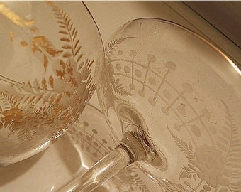 SALE Compote and Pedestal Bowl Cottage Style Etched Glass