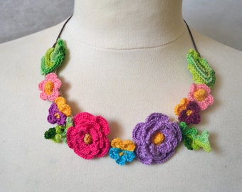 Pink poppy crochet necklace choker flower floral cotton freeform