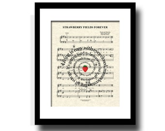 Strawberry Fields Forever Song Lyric Sheet Music Art Print, Spiral Song Lyric Art, Music Poster Art, Home Decor, Music Art Print