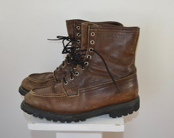 Vintage GAME WARDEN Moc Toe Hunting Boots Mens sz. 10 1/2 E wisconsin shoe company