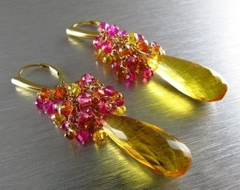 25OFF Yellow Quartz With Citrine and Crystal Cluster Earrings - Rays Of Sun