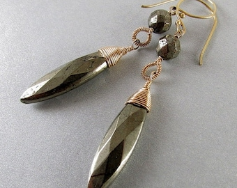 25% Off Pyrite and Gold Filled Wire Wrapped Earrings, Mixed Metal Earrings