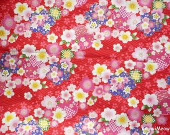Japanese Kimono Fabric - Sakura Cherry Blossoms on Red - Fat Quarter (no20161110)