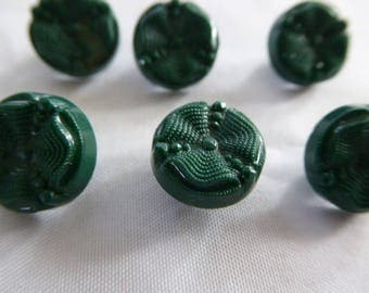 Vintage Shank Buttons - Tiny Carnival Pinwheel Design - Forest Green (6) 12 mm sz