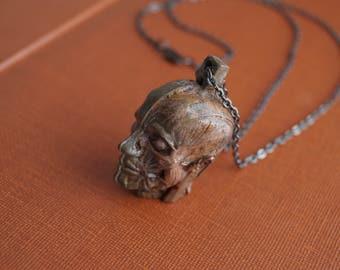 3D Anatomical head cross section Human Skull Necklace solid Bronze Human Skull Pendant Key holder