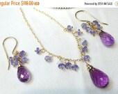 25% SALE Tanzanite Amethyst Necklace Earrings Set, 14kt Gold Fill, Wire Wrap Minimalist Jewelry, Simple Everyday Purple Gemstone February Bi