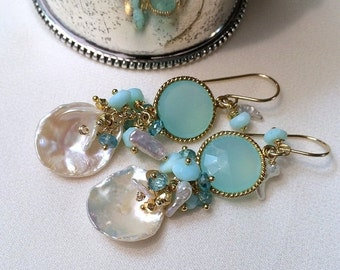 50% SALE Aqua Mint Keishi Pearl Cluster Earrings Multicolor Gemstone  Wire Wrap Peruvian Opals, Gold Coins Keishi Pearls Spring Fashion Mint