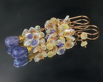 Tanzanite Earrings Colorful Gem Opal Cluster Earring Rose Gold Chain Dangle Boho Earring Pastel Cluster Tanzanite Sapphire Earring