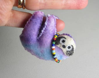 Sloth miniature felt stuffed animal in purple blue tie dye print with Hippy love beads -bendable  - hand painted face  - rain forest animal