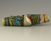 a long shallow bicone focal in an exquisite Southwest color scheme handmade lampwork glass bead - Sonora
