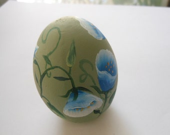 Hand Painted Wooden Egg Blue Flowers with Vine for Easter or Gifts