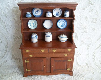 Miniature, hand made, one inch scale, Cherry Hutch by Jon Hinrichson in 1983
