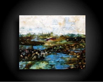 Large Abstract Painting Modern and Contemporary Encaustic Artwork 20 x 24 Canvas Wall Art