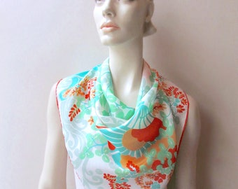 vintage silk scarf spring pastel japanese fan cherry blossoms sally gee made in japan