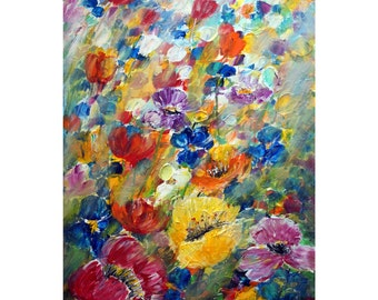 Spring Flowers Original Painting Oil on Canvas Large Abstract Floral Artwork by Luiza Vizoli