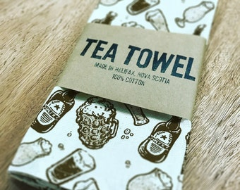 Beers! - Hand printed Tea Towel