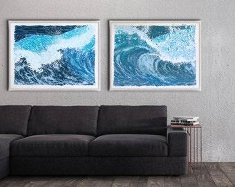 "Ocean Wave Print Set - Handmade 18: x 24"" serigraph screenprint fine art screenprinted original art print"