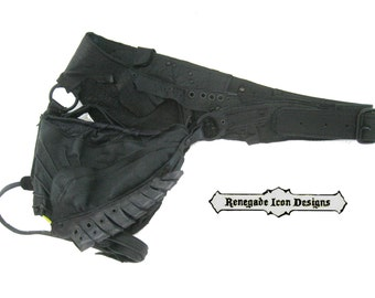 One of a Kind Leather hip bag, festival, burning man, warrior,distressed, rugged, primal leather,: Renegade Icon Designs