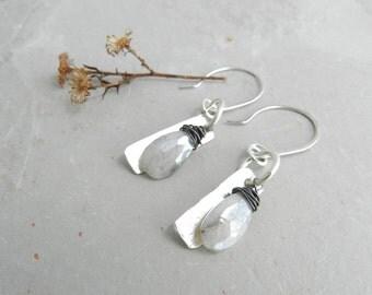 Sterling Metalwork Disk Silverite Dangle Earrings--Hammered Metalwork--Silver Shine