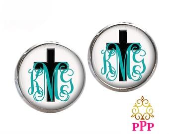 Monogram Earrings, Pendant Earrings, Cross Stud Earrings, Dangle Earrings, Personalized Studs, Personalized Jewelry, Monogram Studs (414)
