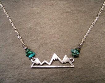 Silver Mounain Range & Turquoise Nuggets Necklace
