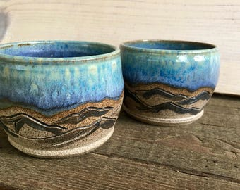 Mountain + Moon Cups (Pair) - Wine - Whiskey - Sake - Espresso - Juice - Blue - Moon - Wanderlust - Desert Dreaming - Hand carved - Ceramic