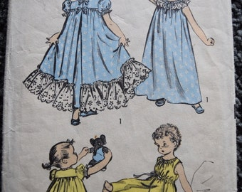 Vintage Advance 6272 Girls Nightgowns and Robe in Size 2