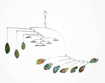 Large Mobile Sculpture - Very Visually Appealing Ceiling Art in Greens and Wildflowers READY TO SHIP