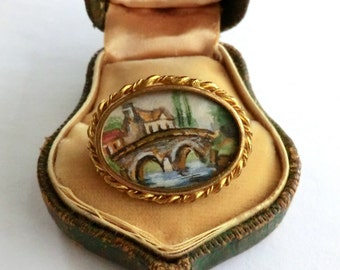 SALE Vintage Petite Oval Brooch with Miniature Water Color Scenic