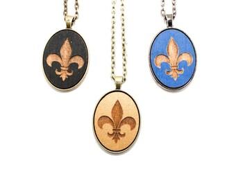 Fleur-de-lis Necklace - Laser Engraved Wooden Cameo Pendant (Custom Made / Any Color) - Dia de Los Muertos