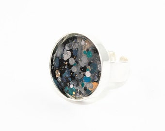 Splatter Painted Adjustable Ring - Acrylic in Round Brass Ring - Black, Gold, Gray, Teal - One-of-a-kind Jewelry Gifts For Her