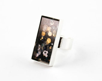Abstract Art Drip Painting Ring - Acrylic in Rectangle Silver Ring - Black, Gold, Rust, Teal (Original Painting)