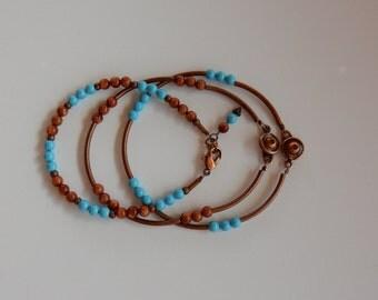 Turquoise and Jasper Bracelet Trio. Friendship Bracelet. Copper Tubes Button Style Clasp
