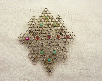 SALE ---- Antique Sterling Silver Amethyst Turquoise Geometric Grid Brooch