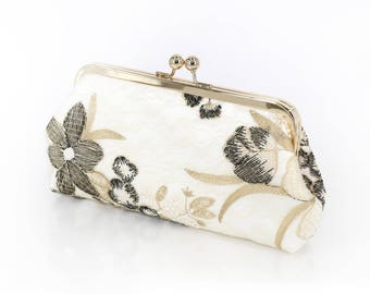 Black white and Gold Floral Clutch | Embroidered tulle lace | Mother of the Bride and Groom Gift