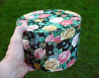 Rose graphic covered round lidded box