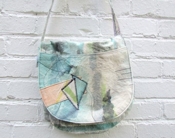 the love of shape bag ... one of a kind, hand painted, cotton canvas, crossbody bag