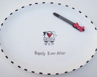 Ceramic XL OVAL Signature Platter- Guest Book Alternative