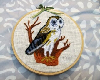 Hand Embroidery Art, Embroidered Hoop Art,  Embroidery,  Owl, Crewel Embroidery