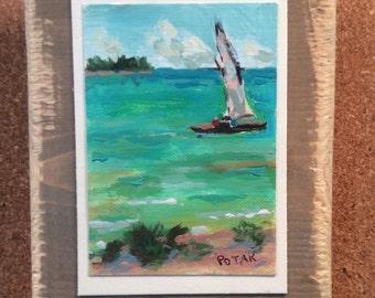 ON RESERVERE JK / Wall decor original sea painting, seascape sailboat ocean collectible art, plaque with hanger cord, Russ Potak