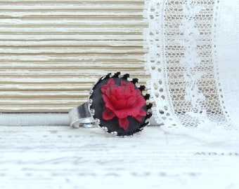 Red Rose Ring Rose Cameo Ring Red And Black Ring Gothic Ring Red Rose Jewelry Victorian Ring