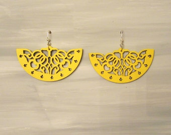 Hand Painted Laser Cut Yellow Earrings
