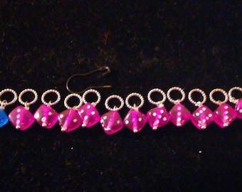 Dark Pink Lucky Dice Stitch Marker Set
